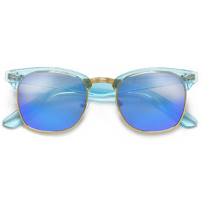 Retro Half Frame Semi-Rimless Colorful Lens Half Frame Sunglasses - Sunglass Spot
