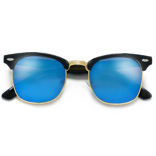 Retro Half Frame Colorful Reflective Mirrored Lens Classic Clubmaster Sunglasses