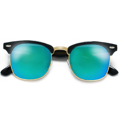 Colorful Reflective Mirrored Lens Classic Half Frame Sunglasses - Sunglass Spot
