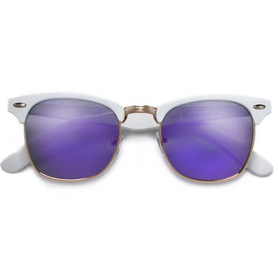 Retro Inspired White Half Frame Semi-Rimless Revo Lens Sunglasses - Sunglass Spot