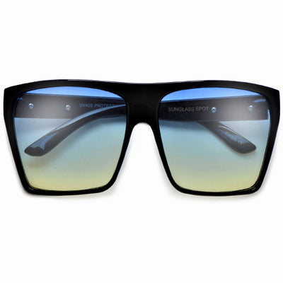 Large Oversized Indie Fashion Flat Top Squared Frame Sunglasses