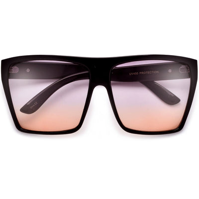 Large Oversized Indie Fashion Flat Top Squared Frame Sunglasses - Sunglass Spot