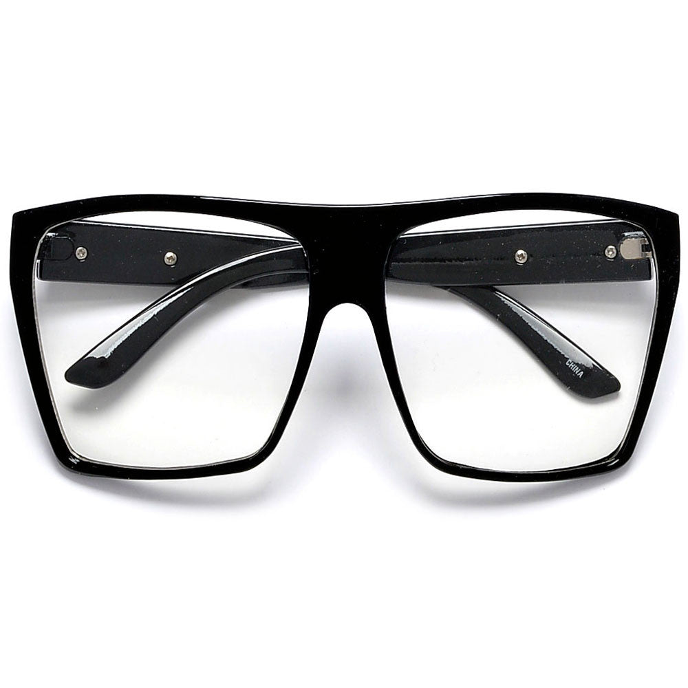 top frame glasses  Large Oversized Indie Fashion Flat Top Squared Frame Eyewear ...