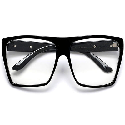 Large Oversized Indie Fashion Flat Top Squared Frame Eyewear Glasses - Sunglass Spot