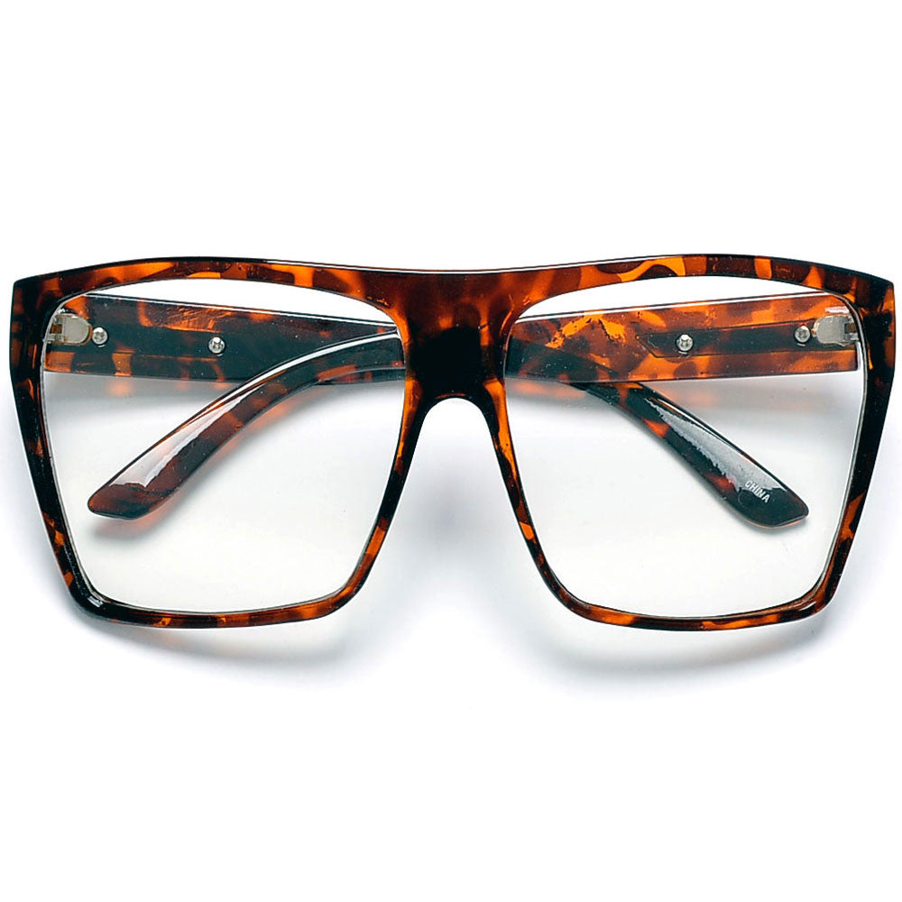 Large Oversized Indie Fashion Flat Top Squared Frame ...