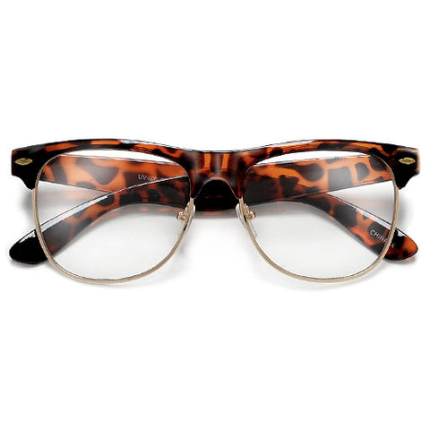 Retro Inspired Half Frame Clear Lens Eye Wear Glasses