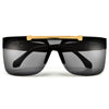 FLIP UP FLAT TOP HIGH FASHION RIMLESS SHIELD SUNNIES - Sunglass Spot