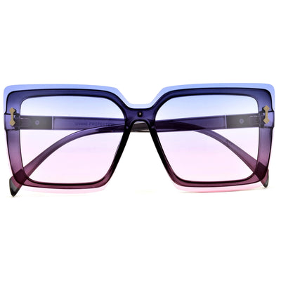 Oversize Rimless Modern Shield Sunnies - Sunglass Spot