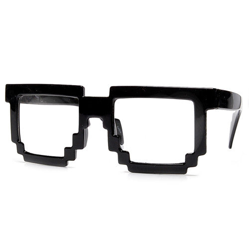 8-Bit Pixelated Block Gamer Style Clear Lens Eyewear - Sunglass Spot