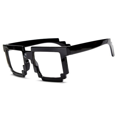 8-Bit Pixelated Block Gamer Style Clear Lens Eyewear