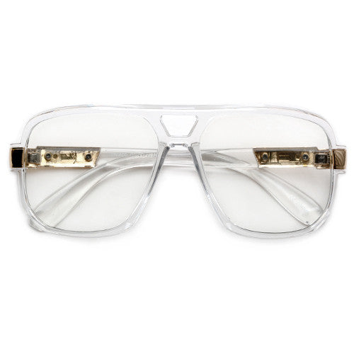 70's Vintage Oversize 58mm Squared Off Clear Eyewear