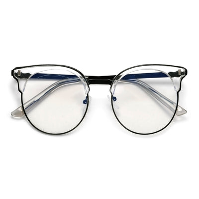 Round Blue LIght Blocking Cat Eye Silhouette Eyewear - Sunglass Spot