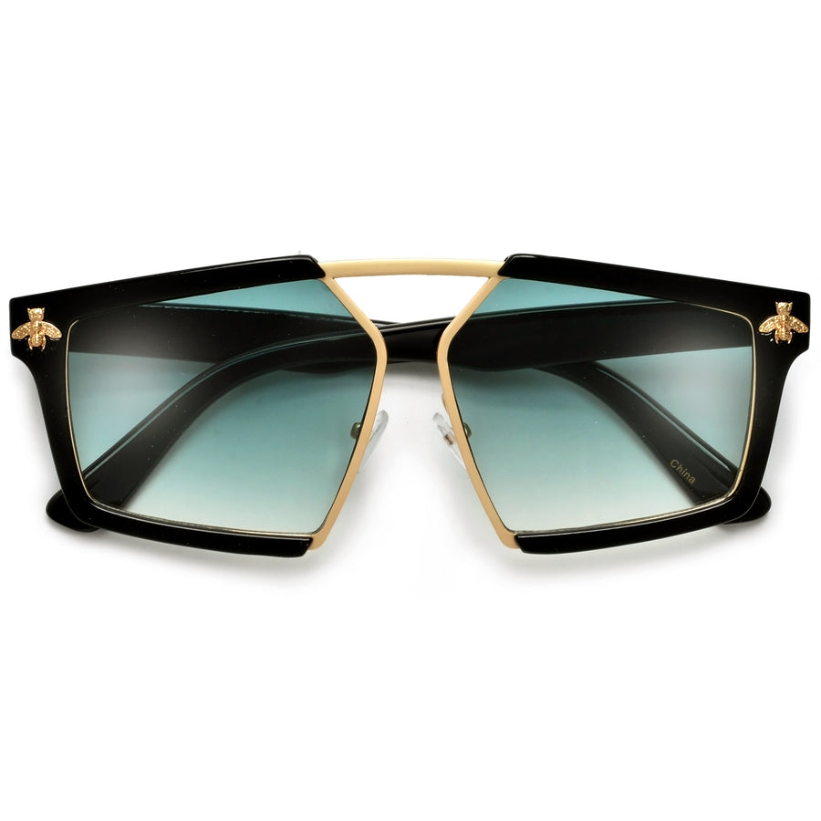 Sleek Geometric Angular Bee Logo Frame Aviator Sunglasses