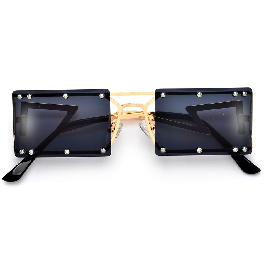 Sleek Studded Rimless Squared Out Ultra Lightweight Street Style Sunnies