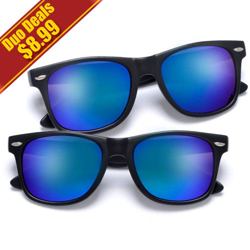 2 Pack Classic Matte Black Horn Rimmed Colorful Purple/Blue Mirrored Lens 80s Style Wayfarer Sunglasses