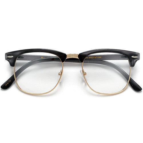 Retro Inspired Half Frame Semi-Rimless Charcoal Gray Clear Lens Eyewear