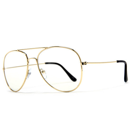 Classic Iconic Tear Drop Metal Clear Lens Aviator Eyewear
