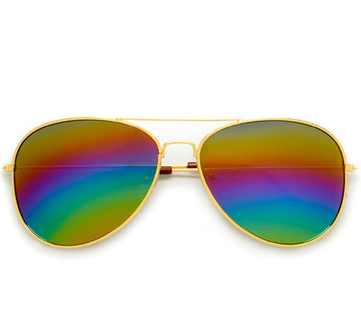 Rainbow Color Mirrored Lens Classic Aviator Sunglasses - Sunglass Spot