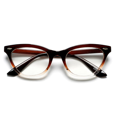 50mm Cat Eye Shaped Clear Lens Glasses with Rivets - Sunglass Spot