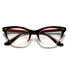 50mm Cat Eye Shaped Clear Lens Glasses with Rivets
