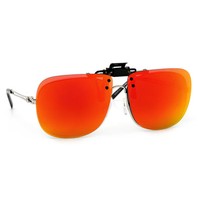 Polarized 61mm Colored Mirror Oversize Squared Frame Clip-On - Sunglass Spot
