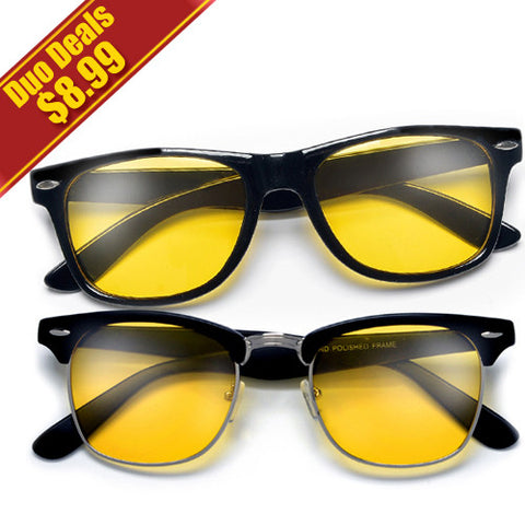 2 Pack Iconic Duo HD Night-Time Yellow Tint Lens Driving Sunglasses