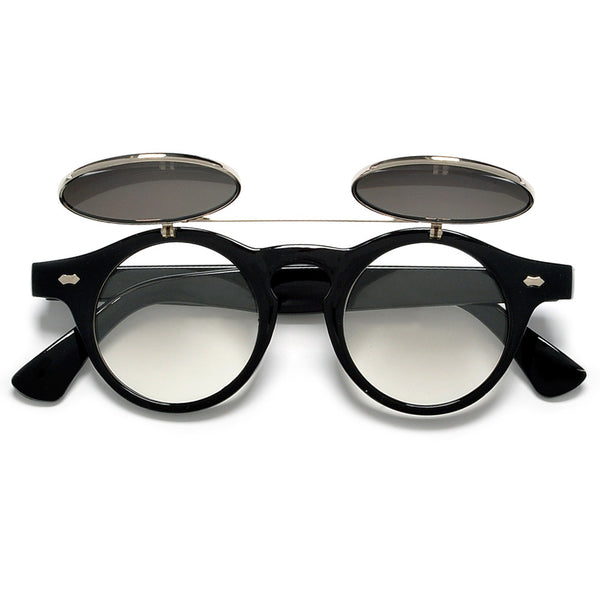 Lennon Inspired Small 42mm Round Flip-Up Sunglasses / Glasses