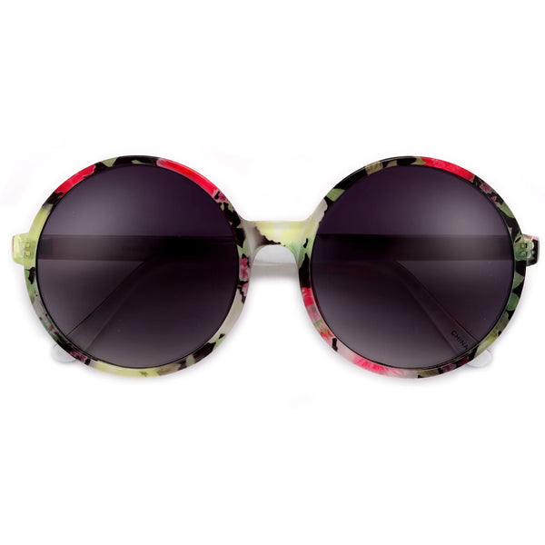 Oversize 60mm Round Floral Sunnies