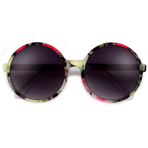 Modern Flat Lens Retro Round Double Brow Bar Sunglasses