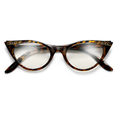Vintage Decorated High Pointed Tip Stylish Clear Lens Cat Eye Eyewear - Sunglass Spot
