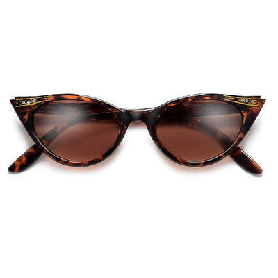 Vintage Decorated High Pointed Tip Stylish Cat Eye Sunglasses