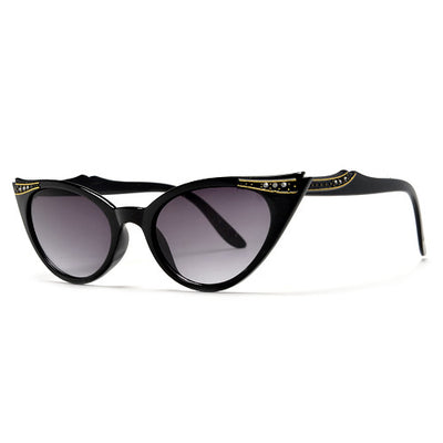 Vintage Decorated High Pointed Tip Stylish Cat Eye Sunglasses - Sunglass Spot