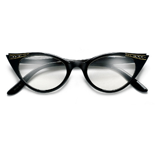 Vintage Decorated High Pointed Tip Stylish Clear Lens Cat Eye Eyewear