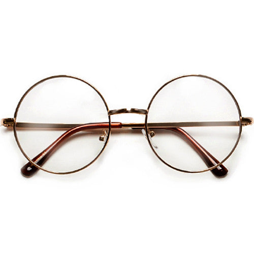 Oversized Huge Retro Round Clear Lens 70's Inspired Chic Eyewear