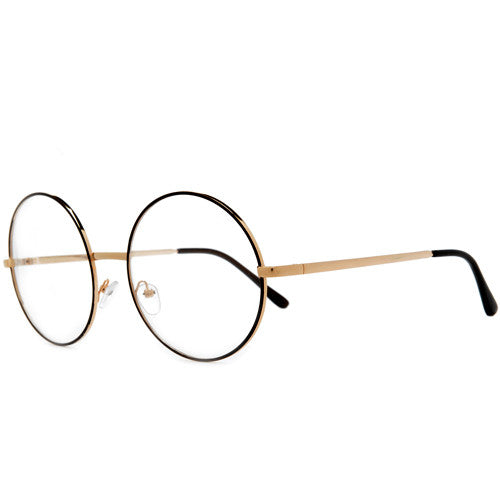 df21a9ffa3575 Oversized Huge Retro Round Clear Lens 70 s Inspired Chic Eyewear ...