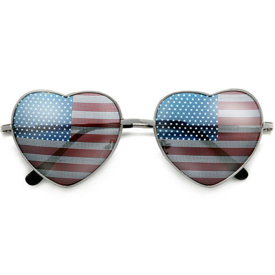 Patriotic American Flag Heart Shaped Sunglasses
