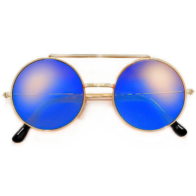 Full Metal Retro Round Colorful Lens Flip Up Sunglasses - Sunglass Spot