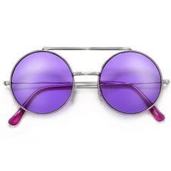 Full Metal Retro Round Colorful Lens Flip Up Sunglasses