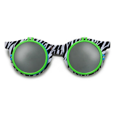 Retro 80's Print Round Double Flip Up Peek a Boo Party Shades - Sunglass Spot