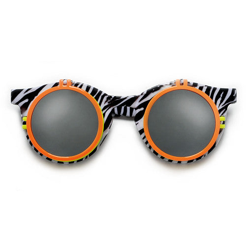 Retro 80's Print Round Double Flip Up Peek a Boo Party Shades