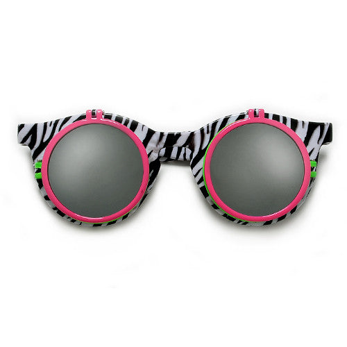 0990bb68b94 Retro 80 s Electrifying Bright Neon Colored Beach Bum Shield Sunglasses    5.00 · Retro 80 s Print Round Double Flip Up Peek a Boo Party Shades