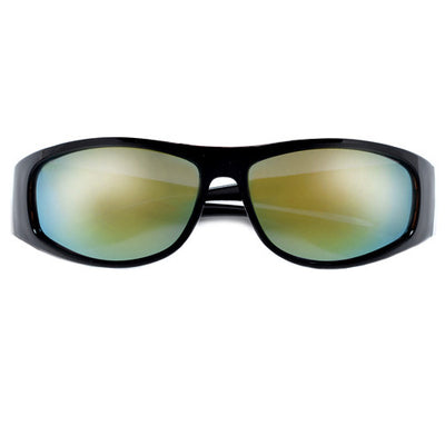 Modern Design Large Men's Fit Dark Wrap Around Shades - Sunglass Spot