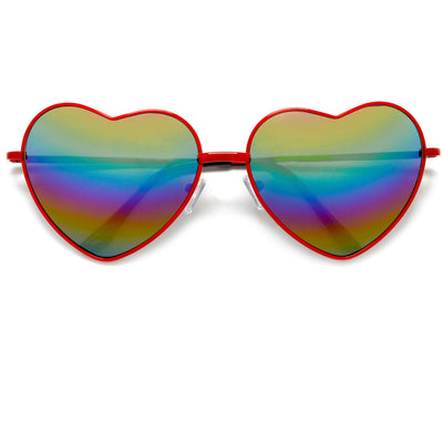 Cute Rainbow Mirrored Metal Heart Shaped Sunglasses - Sunglass Spot