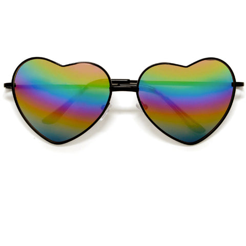 Sweet Metal Accent Bold Heart Shaped Sunglasses