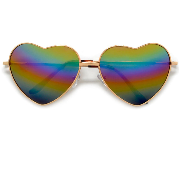 Cute Rainbow Mirrored Metal Heart Shaped Sunglasses