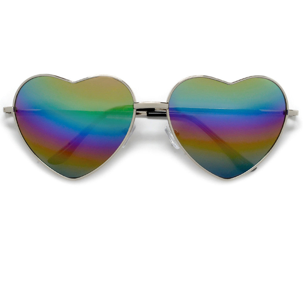 f3feedb8dbc Cute Rainbow Mirrored Metal Heart Shaped Sunglasses - Sunglass Spot