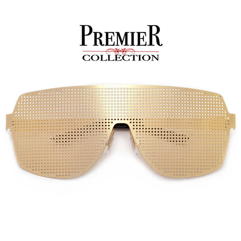 Premier Collection-Diamond Shaped Double Browbar  Modern Glam Clear Aviator