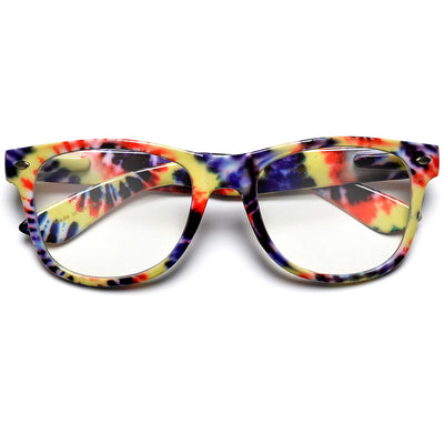 Tie Dye Nerdy Hippie Clear Lens 80's Glasses