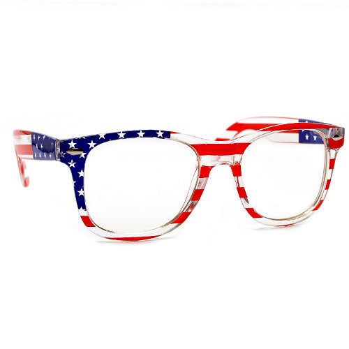 4th July US. Flag Clear Lens Non Prescription Wayfarer Glasses