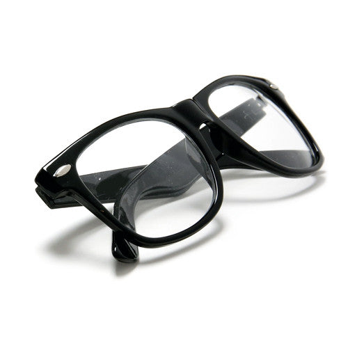 2 Pack Classic Black Horn Rimmed Clear Lens 80s Classic Eyewear